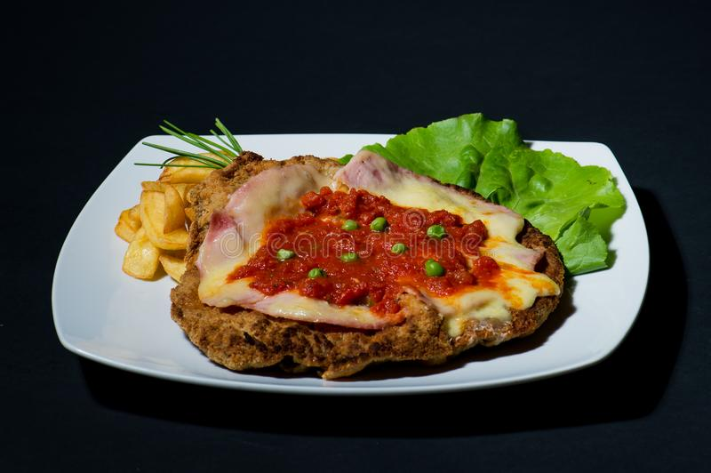 A healthy meal - lunch or dinner with salad and schnitzel stock image