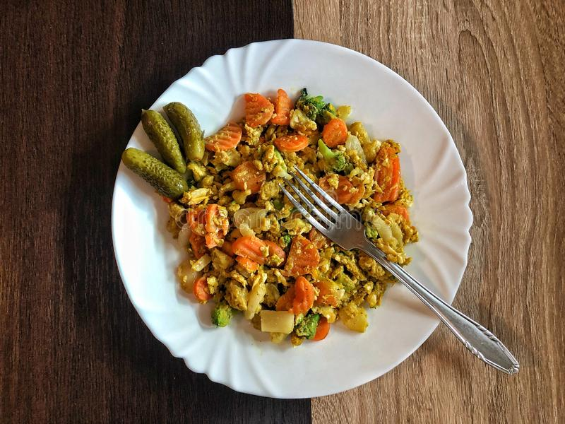 Healthy meal, vegetable with chicken stock images