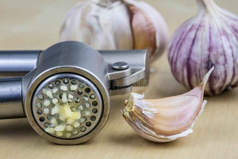 A healthy and medicinal garlic syrup squeezed with a kitchen squeezer. Natural methods of treating colds. Light background stock photo