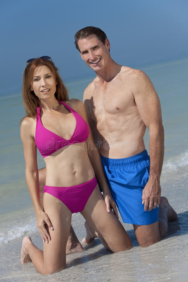 Download Healthy Middle Aged Couple In Swimsuits On A Beach Stock Image - Image: 17684601
