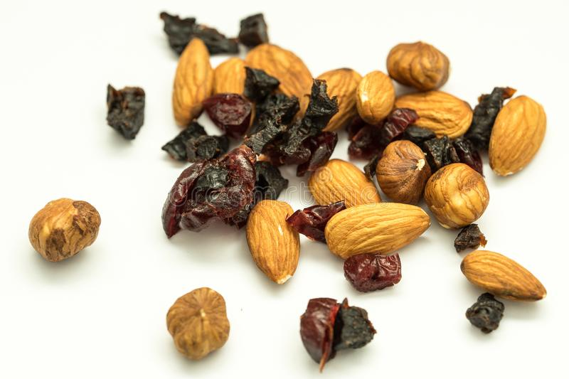 Hazelnuts, almonds and dried fruit royalty free stock photo