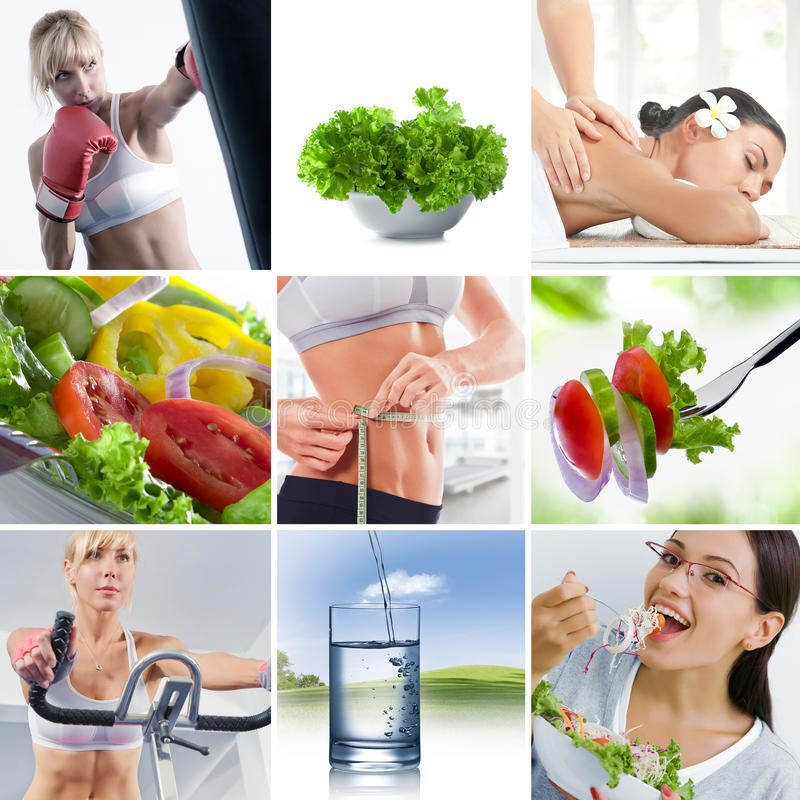 Healthy mix. Healthy lifestyle theme collage composed of different images stock photo