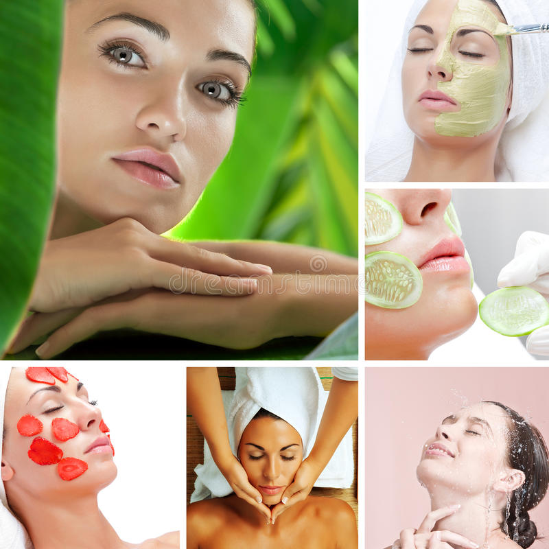 Healthy mix. Skin treatment theme collage composed of different images royalty free stock images