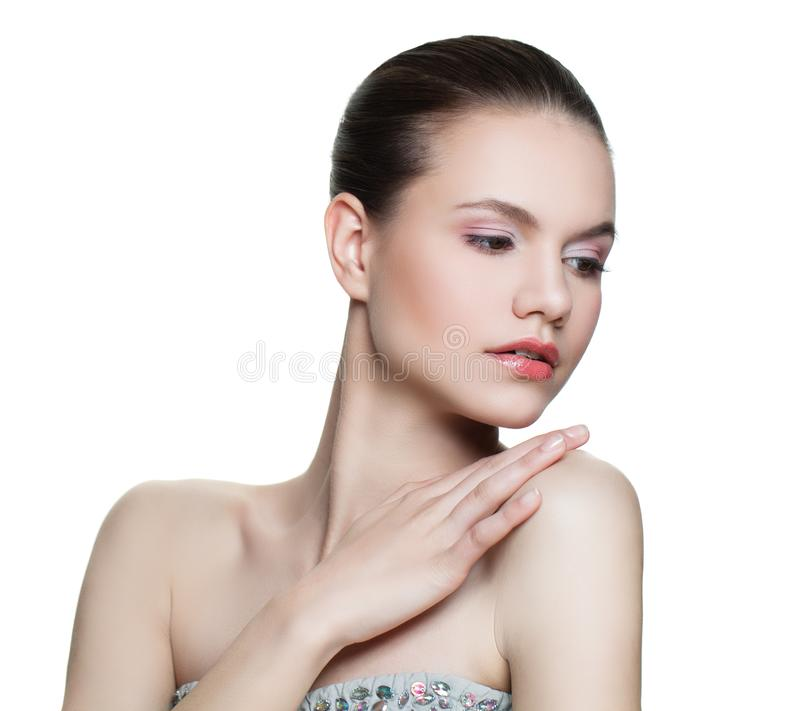 Healthy model woman with clear skin isolated. Skin care and facial treatment concept stock image