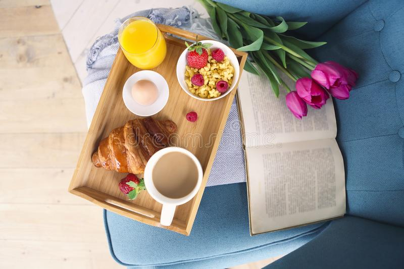 Healthy morning breakfast on tray top view stock image
