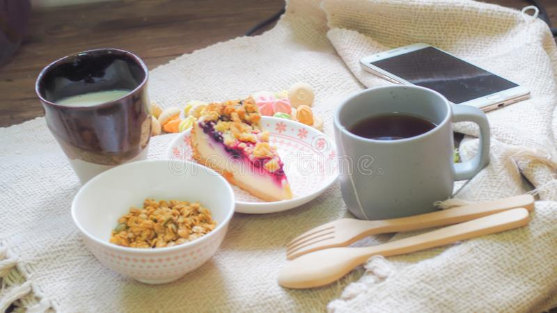 Healthy morning meal. Greek yogurt, cereal and kiwi fruit in a glass. Healthy breakfast and dietary food stock images
