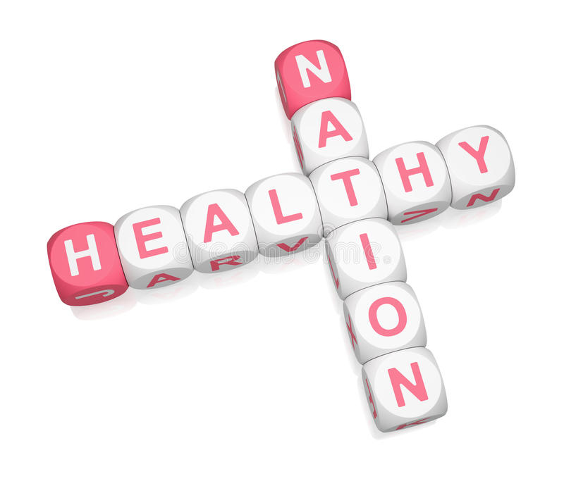 Healthy Nation. Crossword on white background 3d render royalty free illustration