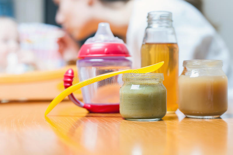 Healthy and natural baby food stock photography