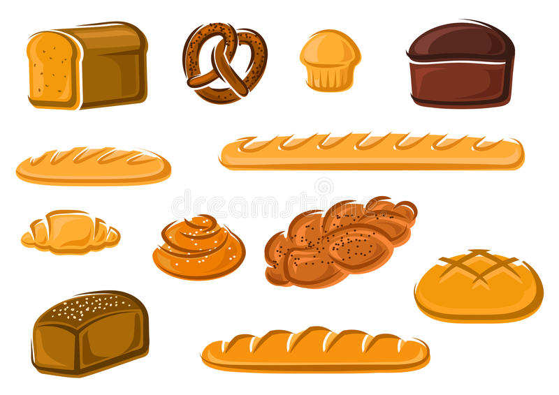 Healthy natural bakery and pastry products. Healthy natural whole grain, wheat and rye loaves of bread, french baguette and croissant, sweet cake, cinnamon and royalty free illustration