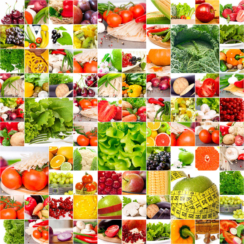 Healthy nutrition concept. Fruits vegetable collage. Healthy nutrition concept royalty free stock photography