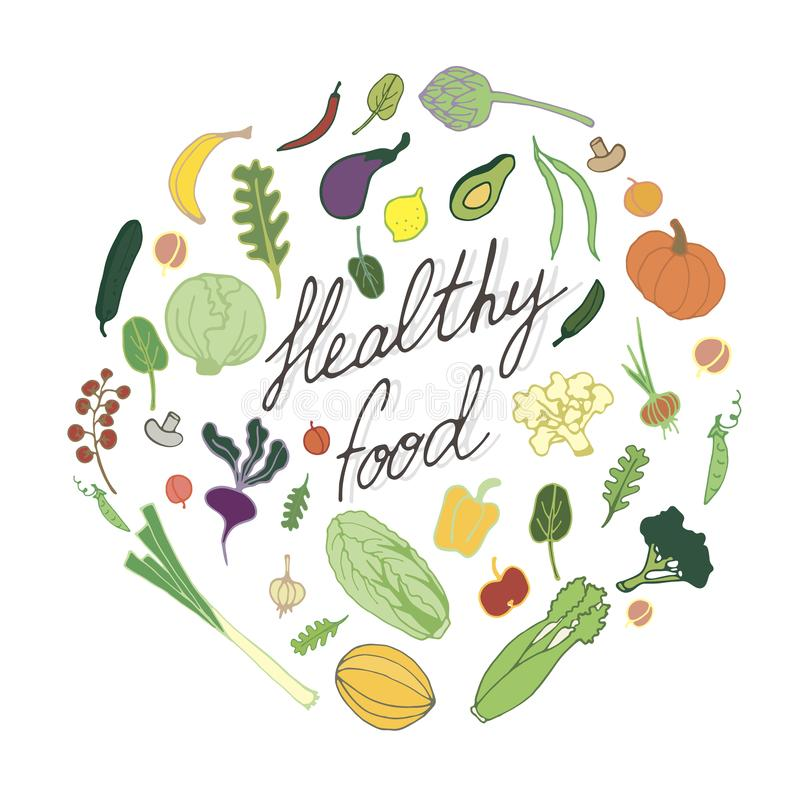 Healthy nutrition hand drawn illustration with fruits and vegetables stock photos