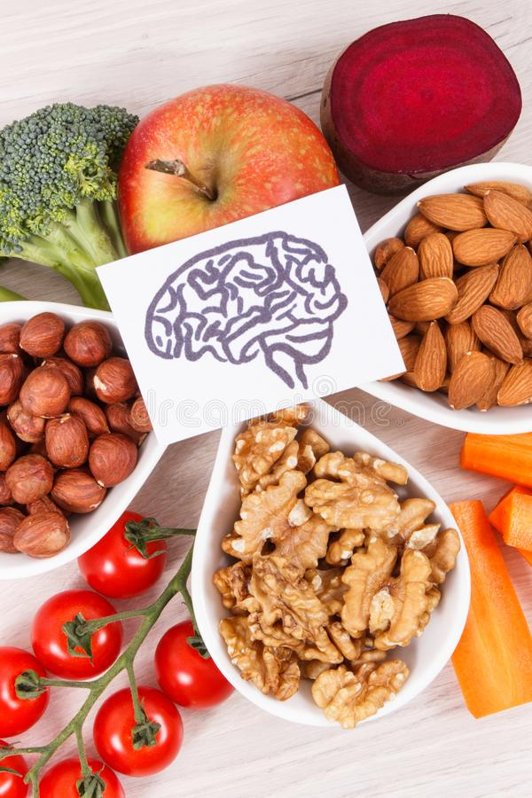 Healthy nutritious eating as source vitamin and minerals, food for brain health concept. Healthy nutritious eating as source natural vitamin and minerals royalty free stock image
