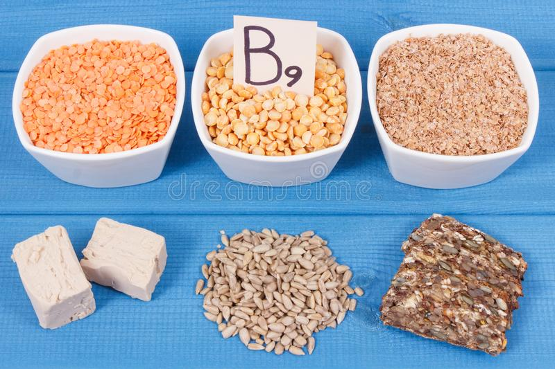 Healthy nutritious food as source folic acid, minerals, vitamin B9 and dietary fiber. Nutritious food as source vitamin B9, dietary fiber, folic acid and natural royalty free stock photo