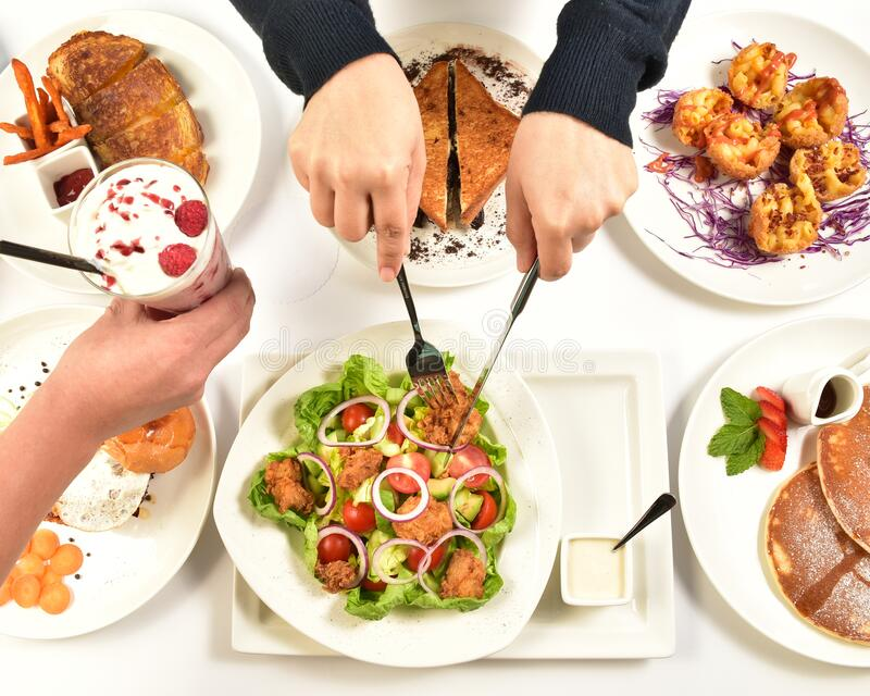 Healthy and Nutritious Food Consists of Vegetable, Fruits, Seafood. Healthy and Nutritious Food Consists of Vegetable, Pancake, Fruits, Chicken, Seafood, Loft stock photos