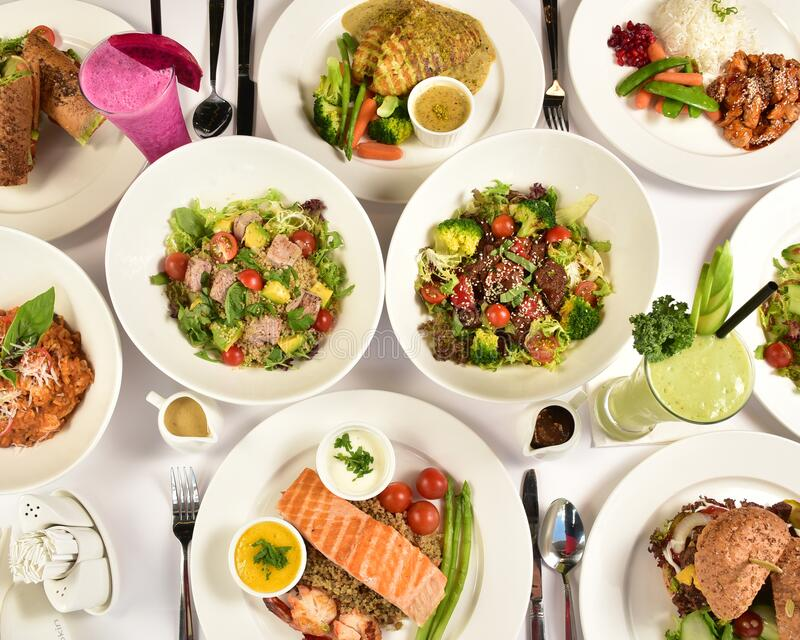 Healthy and Nutritious Food Consists of Vegetable, Fruits, Seafood. Healthy and Nutritious Food Consists of Vegetable, Pancake, Chicken, Seafood, Loft Bread royalty free stock image