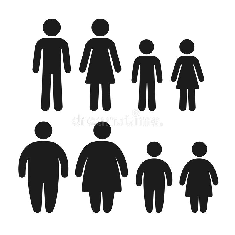 Healthy and obese icon set stock illustration