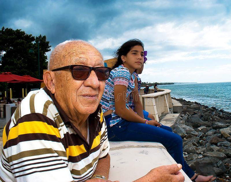 Healthy Old Man enjoying the view stock images