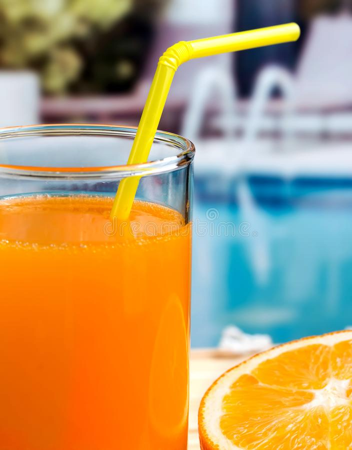 Healthy Orange Juice Represents Swimming Pool Refreshments And Beverages royalty free stock photography