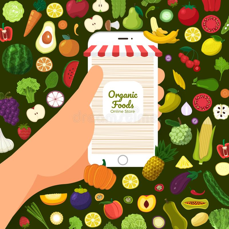 Healthy organic food royalty free illustration