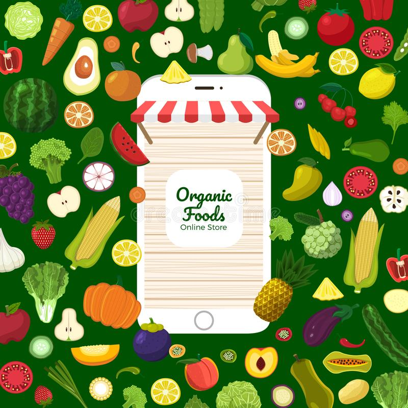 Healthy organic food vector illustration