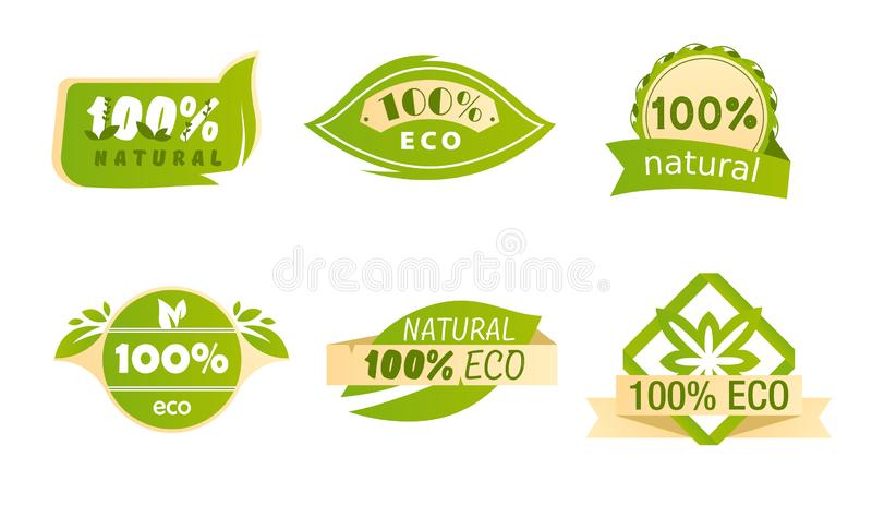Healthy Organic Food Label with Green Leaves. Tag, Emblem, Meal and Drink Logo for Cafe, Restaurants and Products. Packaging. Eco Natural Food Promotion vector illustration