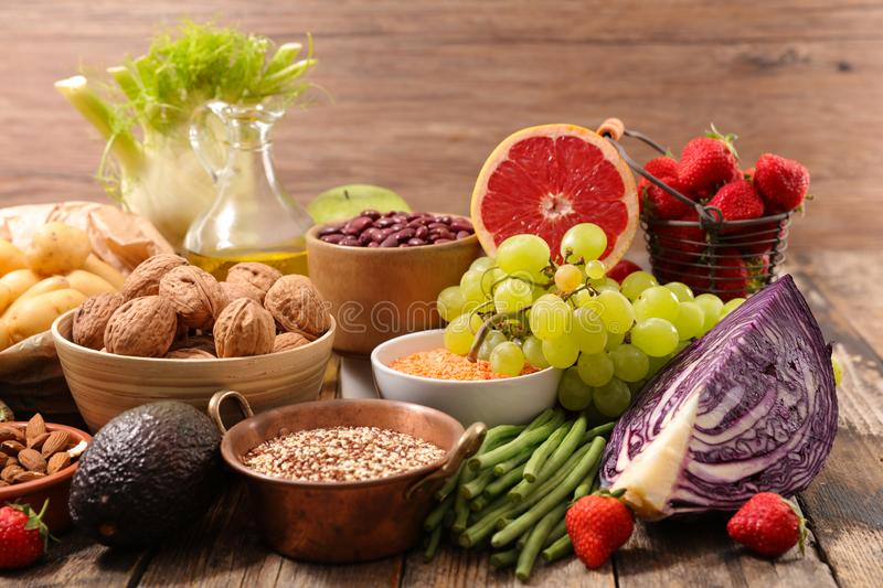 Healthy organic products stock photo
