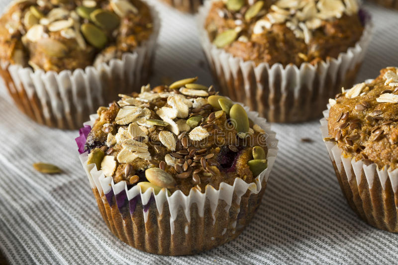 Healthy Organic Seed and Blueberry Muffins stock photo