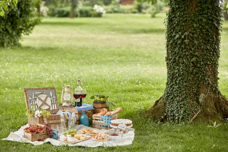Healthy outdoor living with a tasty picnic lunch stock images