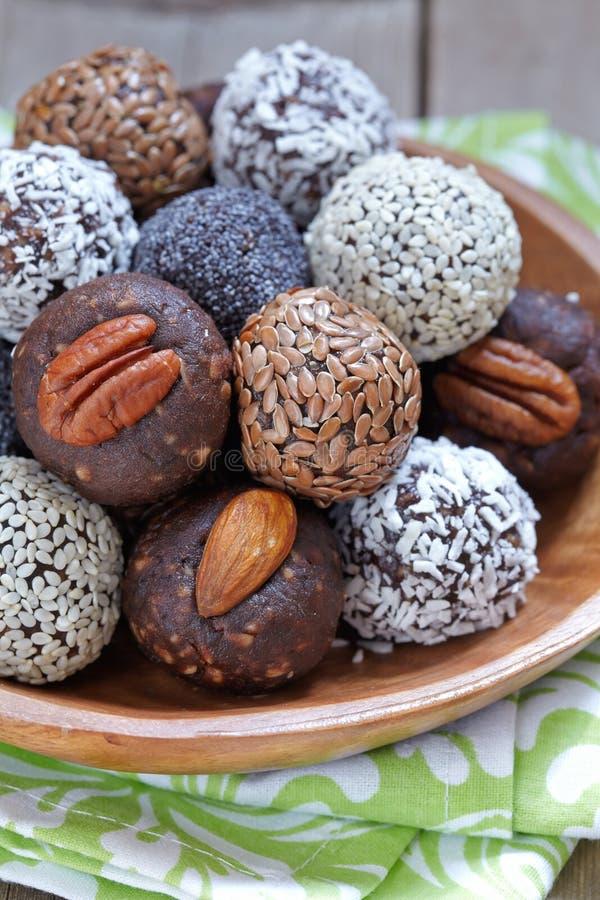 Healthy Paleo Raw Energy Balls stock image