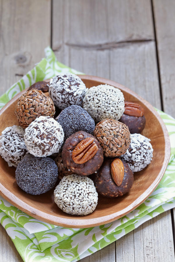 Healthy Paleo Raw Energy Balls stock photos