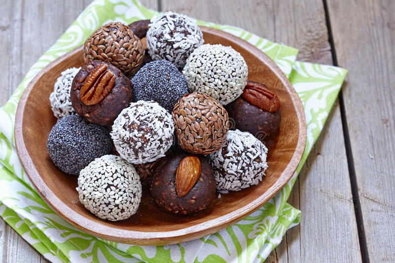 Healthy Paleo Raw Energy Balls. Homemade Healthy Paleo Raw Energy Balls with Nuts and Dates royalty free stock image
