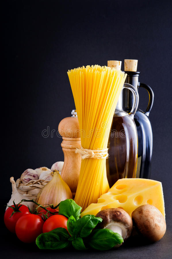 Healthy pasta ingredients royalty free stock images