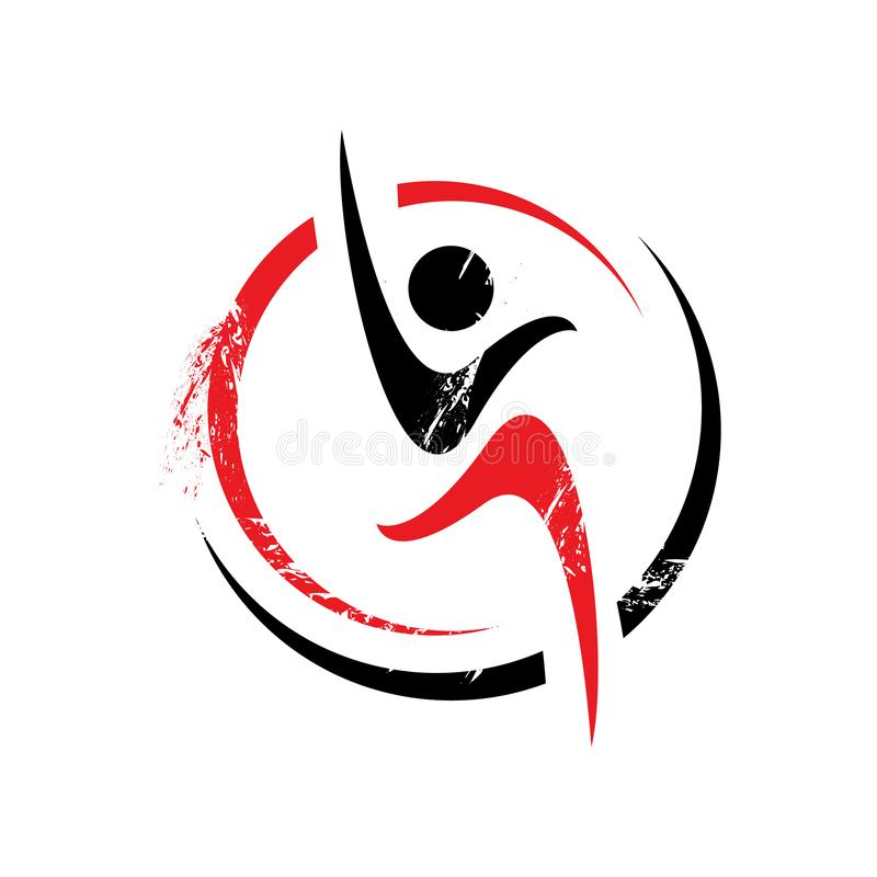 Healthy people sport fitness logo design  template illustrations. Gym, human, symbol, body, silhouette, creative, medical, company, icon, club, muscle, nature royalty free illustration