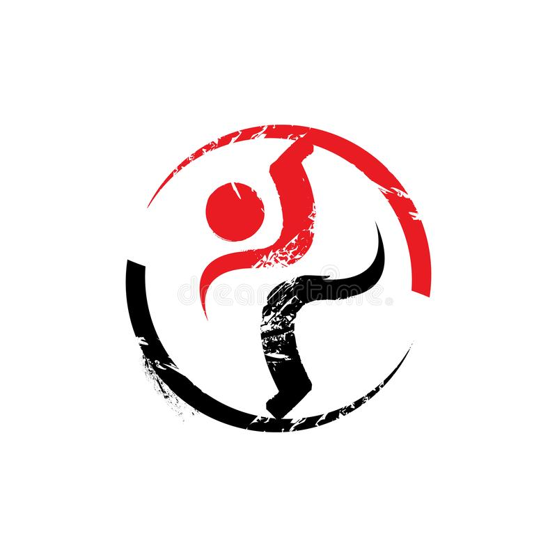 Healthy people sport fitness logo design vector template illustrations. Gym, human, symbol, body, silhouette, creative, medical, company, icon, club, muscle stock illustration