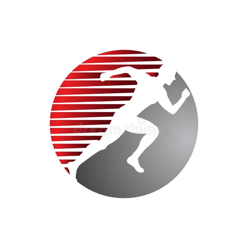 Healthy people sport fitness logo design vector template illustrations. Gym, human, symbol, body, silhouette, creative, medical, company, icon, club, muscle royalty free illustration