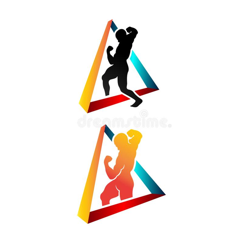 Healthy people sport triangle fitness logo design vector template illustrations. Gym, human, symbol, body, silhouette, creative, medical, company, icon, club royalty free illustration