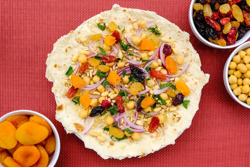 Healthy Pizza Base With Fruit and Nuts stock images
