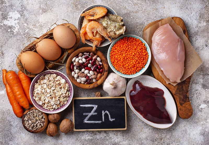 Healthy product sources of zinc. royalty free stock photo