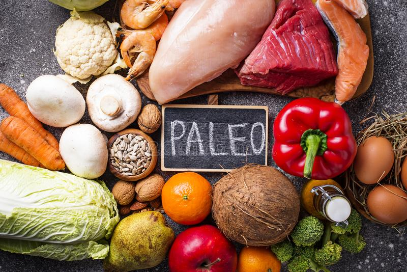 Healthy products for paleo diet stock photos