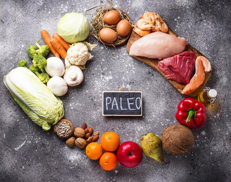 Healthy products for paleo diet stock image