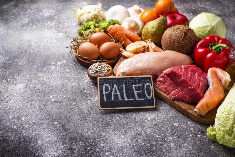 Healthy products for paleo diet royalty free stock image