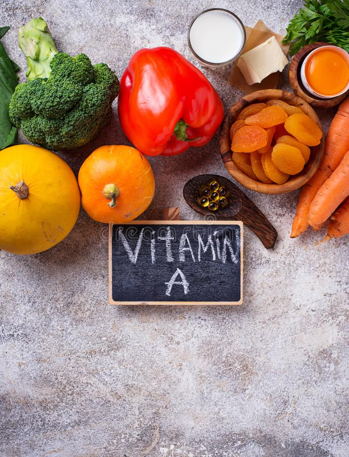 Healthy products rich in vitamin A royalty free stock photo