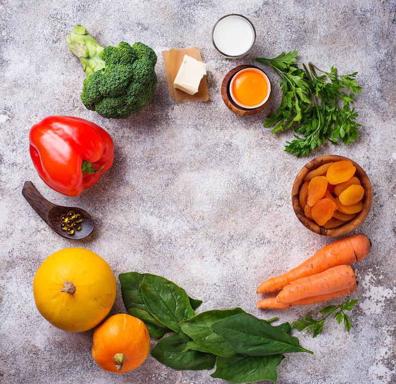Healthy products rich in vitamin A stock photos