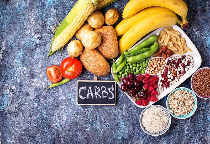 Healthy products sources of carbohydrates. stock photography