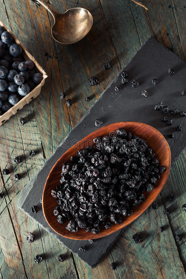 Healthy Raw Dried Blueberries. In a Bowl royalty free stock image