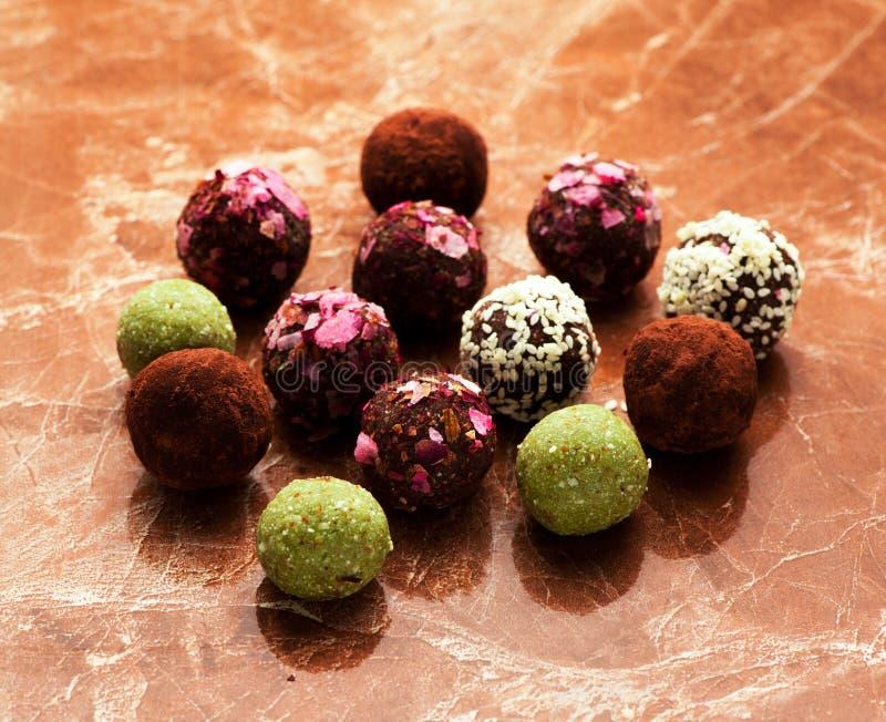 Healthy raw energy balls candy truffles stock photos