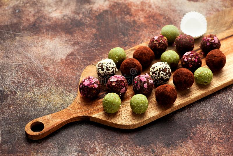 Healthy raw energy balls royalty free stock image