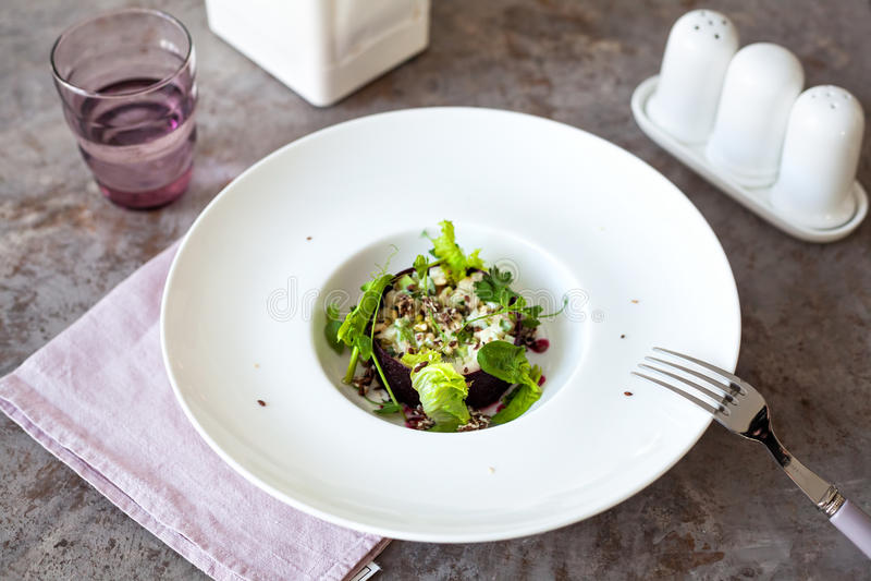 Healthy Raw vegan salad in restaurant royalty free stock photo
