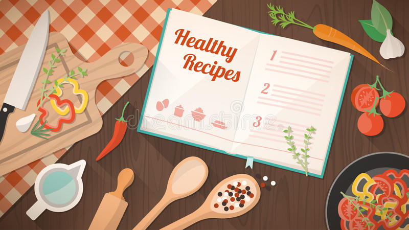 Healthy recipes cookbook. Kitchen utensils and ingredients on the kitchen table, food preparation and leraning concept stock illustration