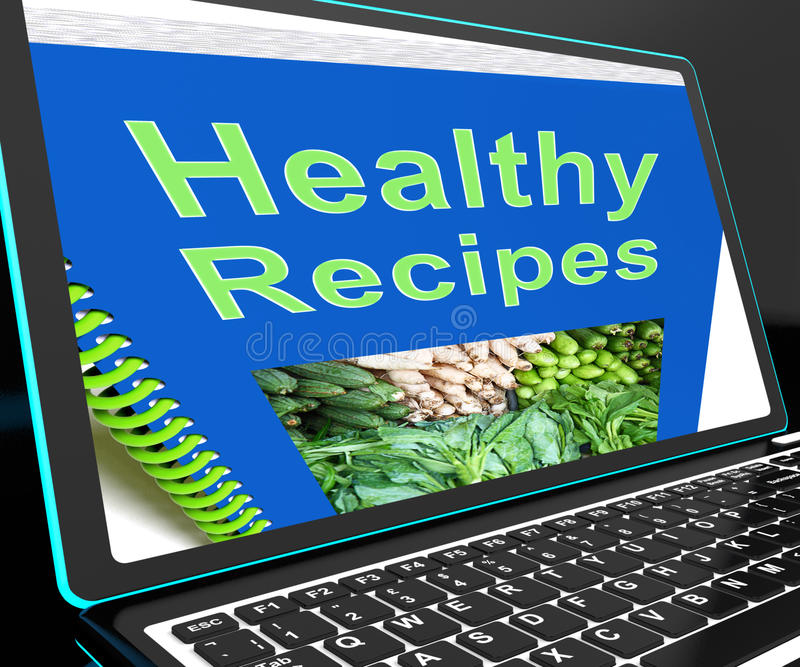 Healthy Recipes On Laptop Shows Online Recipes stock photography